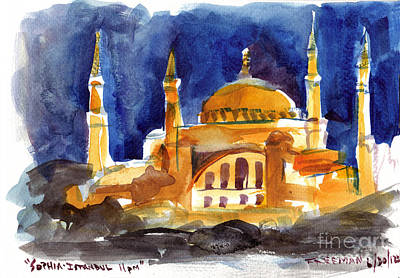 Italy Painting - Sophia Istanbul 11pm by Valerie Freeman