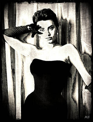 Songstress Digital Art - Sophia Loren - Black And White by Absinthe Art By Michelle LeAnn Scott