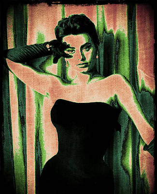 Songstress Digital Art - Sophia Loren - Green Pop Art by Absinthe Art By Michelle LeAnn Scott