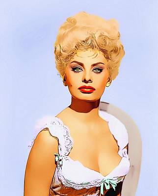 Sophia Loren In Heller In Pink Tights Art Print by Art Cinema Gallery