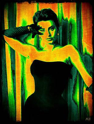Songstress Digital Art - Sophia Loren - Neon Pop Art by Absinthe Art By Michelle LeAnn Scott