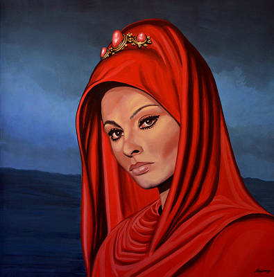 Golden Painting - Sophia Loren 2  by Paul Meijering