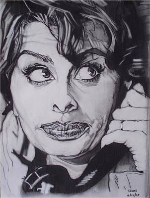 Drawing - Sophia Loren Telephones by Sean Connolly