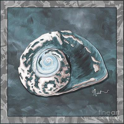 Sophisticated Coastal Art Original Sea Shell Painting Beachy Sea Snail By Megan Duncanson Of Madart Print by Megan Duncanson