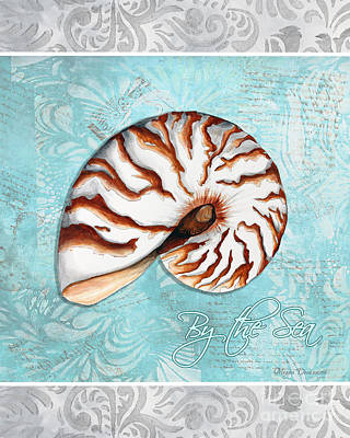 Silver Turquoise Painting - Sophisticated Elegant Nautilus Sea Shell By The Sea 1 By Megan Duncanson by Megan Duncanson
