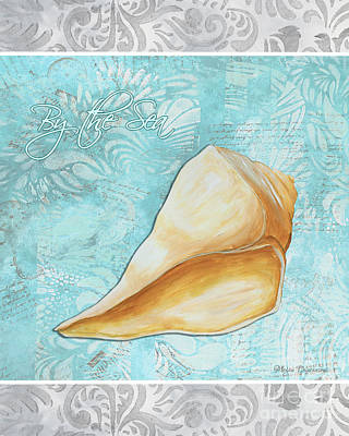 Silver Turquoise Painting - Sophisticated Elegant Sea Shell By The Sea 1 By Megan Duncanson by Megan Duncanson