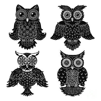 Sophisticated Owls All 4 Art Print by Kyle Wood