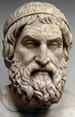 Bearded Man Sculpture - Sophocles by Greek School