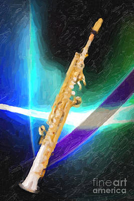 Painting - Soprano Saxophone Music Painting In Color 3339.02 by M K  Miller