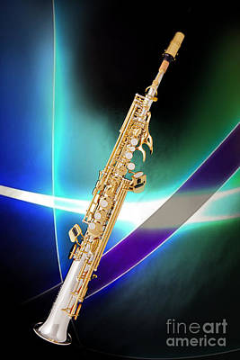 Photograph - Soprano Saxophone Music Photograph In Color 3338.02 by M K Miller