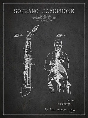 Saxes Digital Art - Soprano Saxophone Patent From 1926 - Charcoal by Aged Pixel