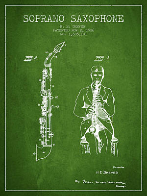 Saxophone Digital Art - Soprano Saxophone Patent From 1926 - Green by Aged Pixel