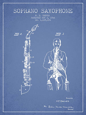 Saxophone Digital Art - Soprano Saxophone Patent From 1926 - Light Blue by Aged Pixel