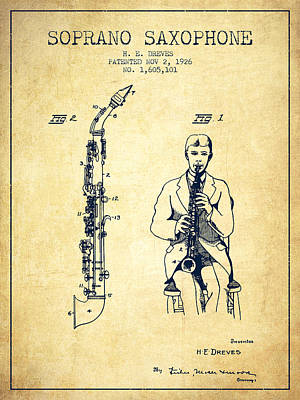 Saxes Digital Art - Soprano Saxophone Patent From 1926 - Vintage by Aged Pixel