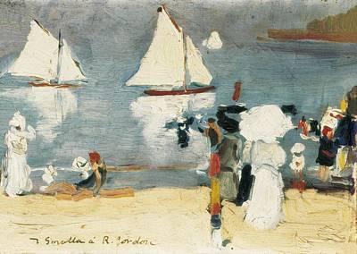 Sorolla, Joaqu�n 1863-1923. Beach In La Art Print by Everett