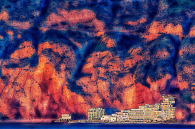 Photograph - Sorrento Coast With Buildings Against The Rock Wall by Enrico Pelos