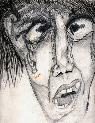 Tears Drawing - Sorrow by Saniuddin Khan