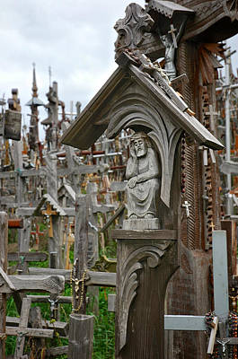 Photograph - Sorrowful Christ Lithuania Hill Of Crosses by Mary Lee Dereske