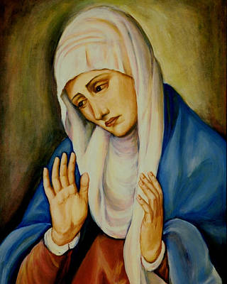 Immaculate Heart Painting - Sorrowful Mother After Titian by Sheila Diemert