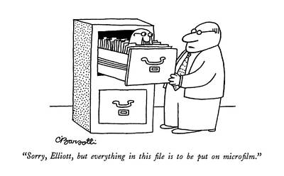 File Cabinets Drawing - Sorry, Elliott, But Everything In This File by Charles Barsotti