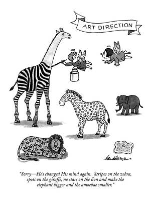 Zebra Drawing - Sorry - He's Changed His Mind Again.  Stripes by J.B. Handelsman