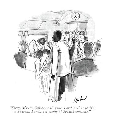 Train Drawing - Sorry, Ma'am. Chicken's All Gone. Lamb's All by Perry Barlow