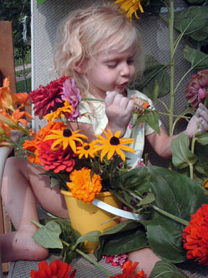 Contemplating Mixed Media - Sorting Her Flowers  by Otella Brantmier