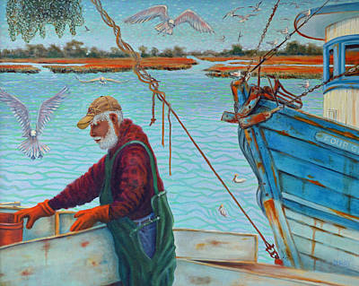Sorting Shrimp At Frogmore 2 Art Print by Dwain Ray