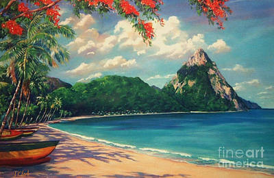 St Lucia Painting - Soufriere Bay   St. Lucia by John Clark