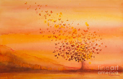 Butterflies Painting - Soul Freedom Watercolor Painting by Michelle Wiarda