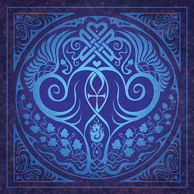Celtic Knotwork Digital Art - Soul Mates - Blue by Cristina McAllister