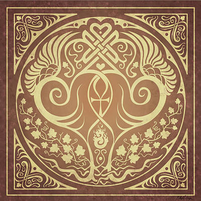 Celtic Knotwork Digital Art - Soul Mates - Gold by Cristina McAllister