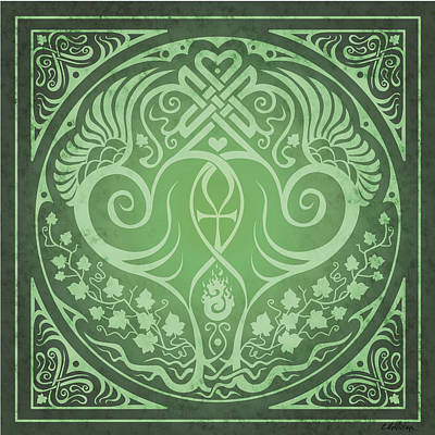 Celtic Knotwork Digital Art - Soul Mates - Green by Cristina McAllister