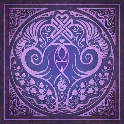 Sacred Digital Art - Soul Mates - Purple by Cristina McAllister