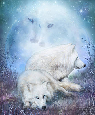 Soul Mates - White Wolves Art Print by Carol Cavalaris