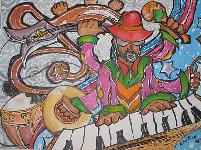 Black Man Playing Guitar Painting - Soul Of Music by Damon Milton