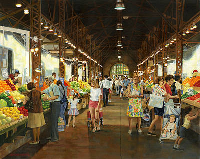 Soulard Market Girl Pulling Wagon Art Print by Don  Langeneckert