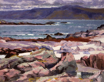 Sound Of Iona  The Burg From The North Shore Art Print by Francis Campbell Boileau Cadell