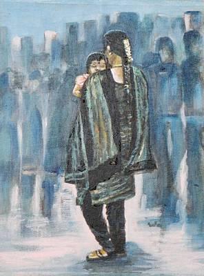 Child And Mother Painting - Sound Sleep by Usha Shantharam