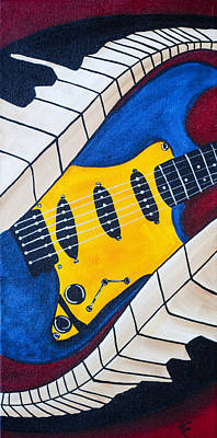 Fender Strat Painting - Sound Waves by Robin Hillman