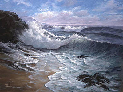 Crashing Wave Painting - Sounding Waves At Big Sur by Del Malonee
