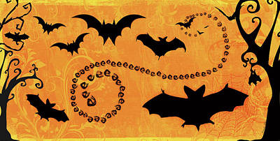 Bat Painting - Sounds Like Halloween I by Belinda Aldrich