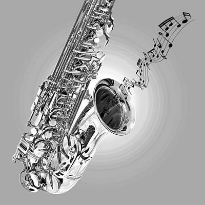 Photograph - Sounds Of The Sax In Black And White by Gill Billington