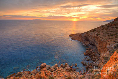 Photograph - Sounion Sunset by Deborah Smolinske