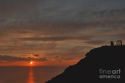 Photograph - Sounion Temple Of Poseidon Sunset 2 by Deborah Smolinske