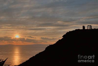 Greek Photograph - Sounion Temple Of Poseidon Sunset 3 by Deborah Smolinske