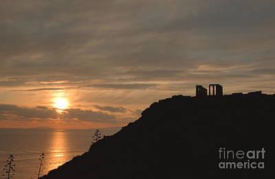 Photograph - Sounion Temple Of Poseidon Sunset 4 by Deborah Smolinske
