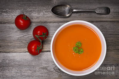 Wooden Bowl Photograph - Soup On Wood Table by Jane Rix