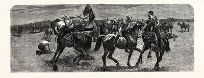 Wrestling Drawing - South Africa A Wrestling Match On Horseback by South African School
