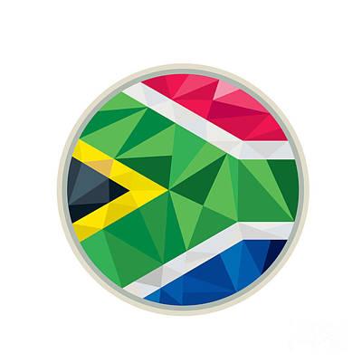 South Africa Flag Icon Circle Low Polygon Art Print by Aloysius Patrimonio